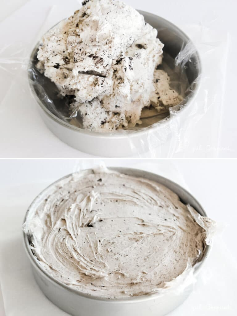 mounded cookies n cream ice cream in plastic lined silver cake pan and spread evenly in cake pan