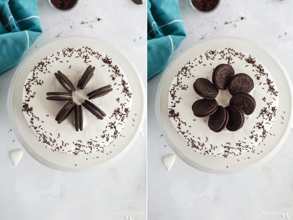 side by side overhead photos of frosted cake on white platter with chocolate sprinkles showing circle of oreos standing in a spoke shape and then collapsed overlapping flat