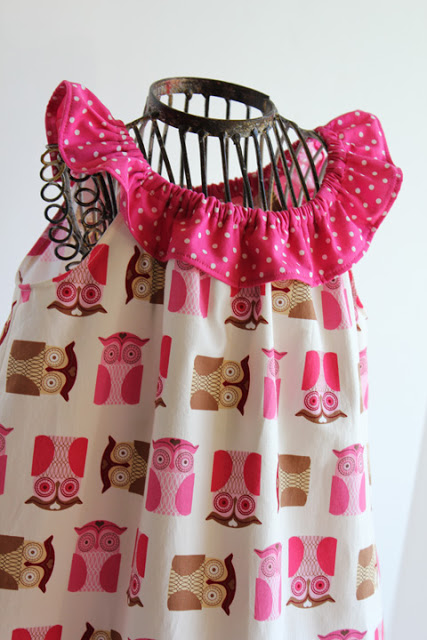 Convert peasant dress to sleeveless dress with neck ruffle.