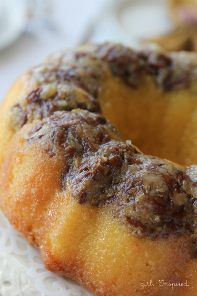 close up of Bacardi rum cake with nuts on top