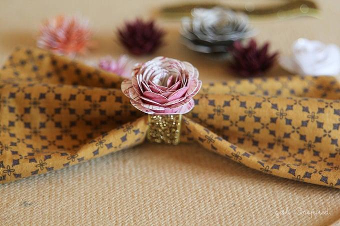 Paper Flower Napkin Rings