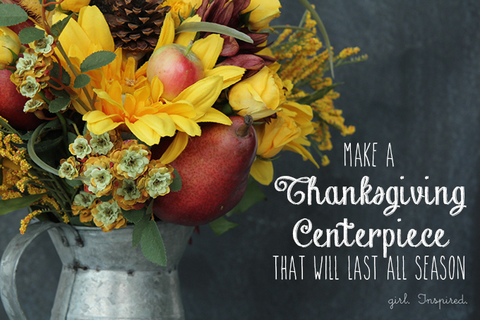 Thanksgiving Centerpiece DIY - combine fresh fruits, cut flowers, and silk foliage to create a centerpiece that will last all season!