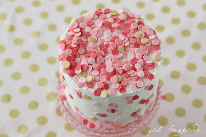 Confetti Cake - make your own edible confetti to decorate home-made or store-bought cakes! Simple and so pretty!