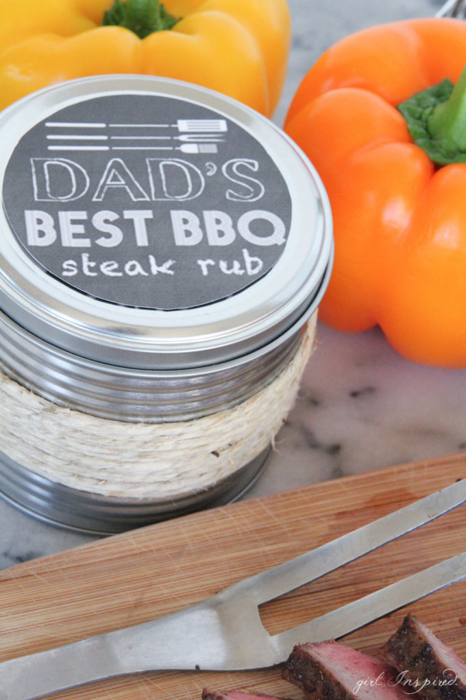 spice rub container with 'Dad's best barbecue steak rub' label and bell peppers