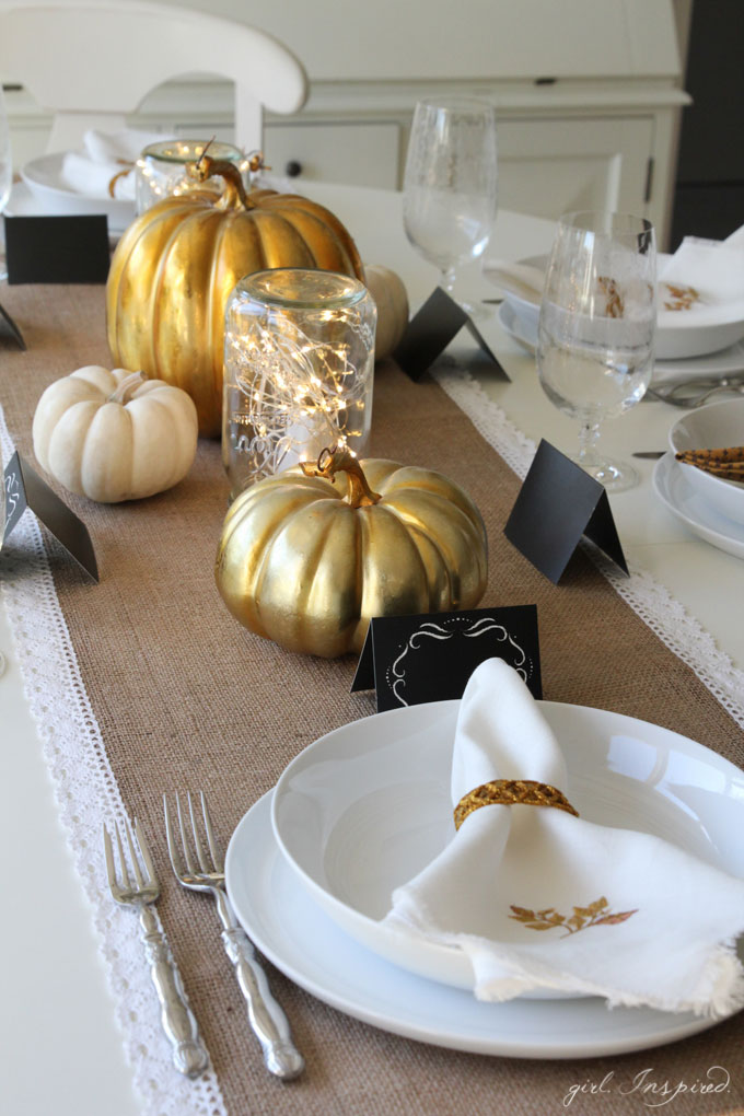 These simple Mason Jar Luminaries are easy to put together and add a warm, sparkle to your Thanksgiving table.