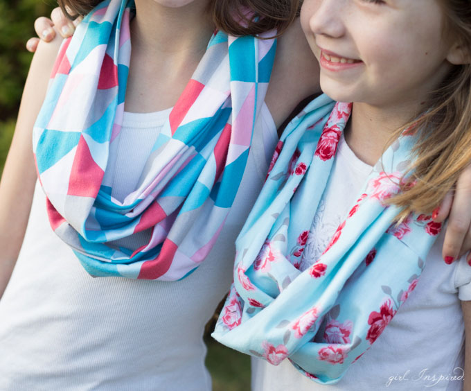 An infinity scarf is the perfect sewing project for kids!