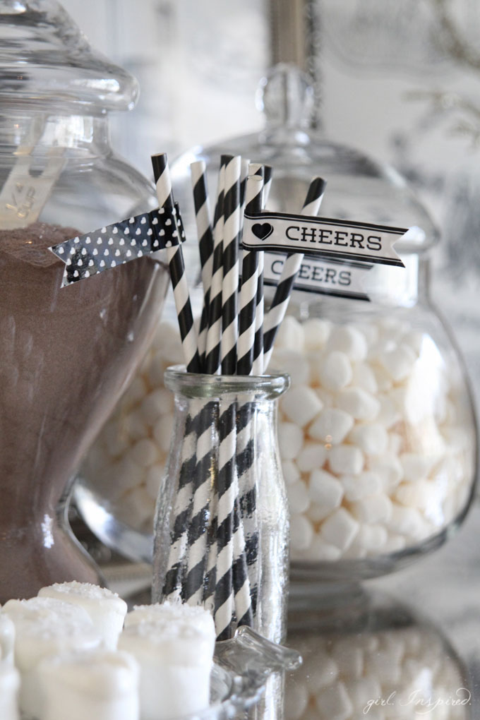 Use Yarn Pom Pom garland to decorate for a hot cocoa bar or party!