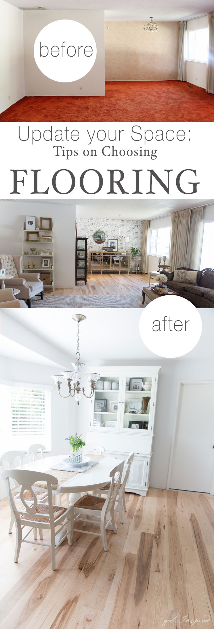 Rustic Hickory Hardwood Flooring - gorgeous floors for the main living areas of the house. Loaded with character and upscale beauty - what an improvement! Find TIPS for choosing the right flooring in your home.
