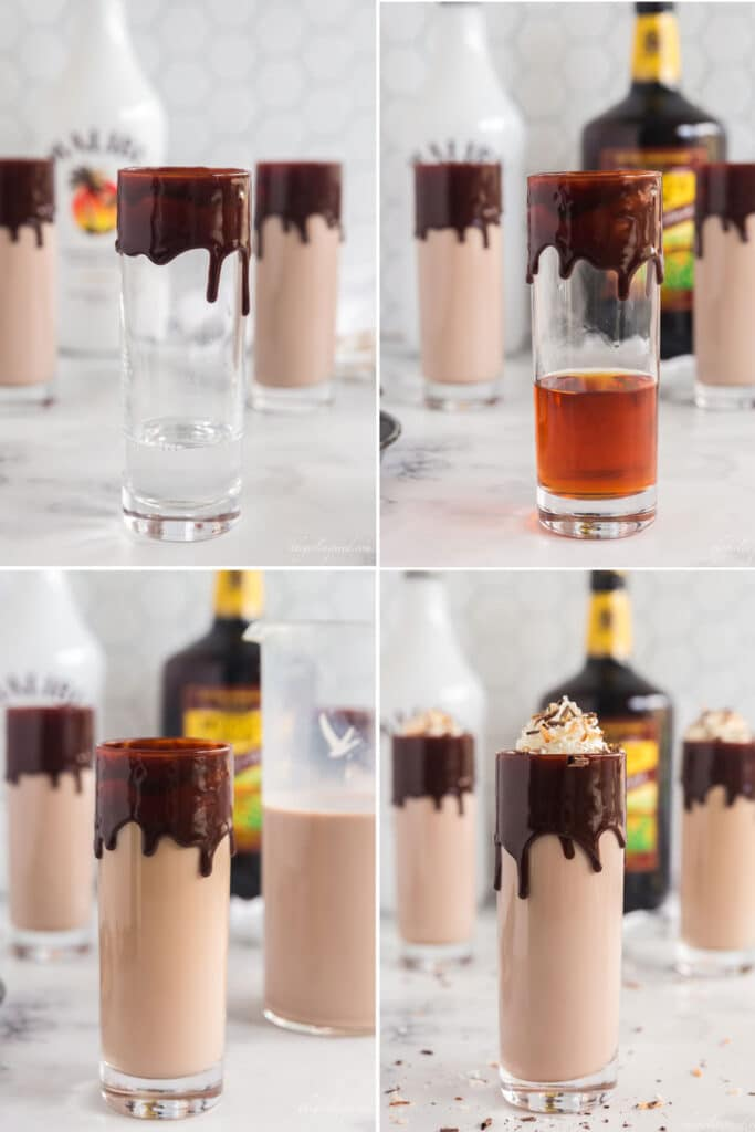 step by step photos showing how to make a coconut rum drink with glass of clear liquor, then dark rum added, then chocolate milk added, then whipped cream topping.