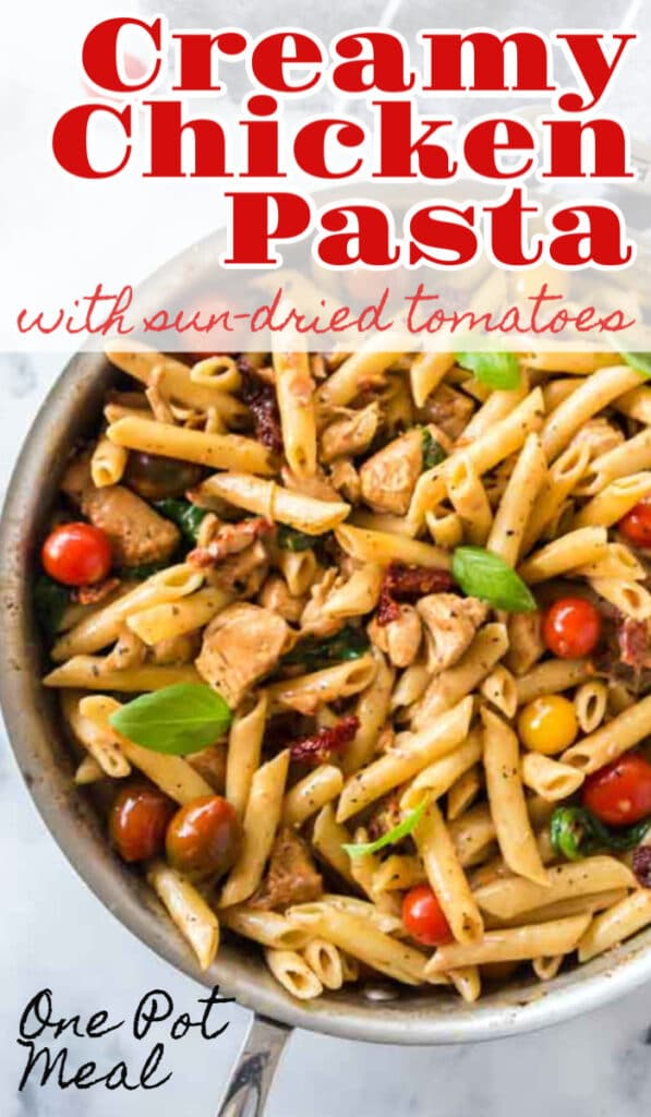 creamy chicken pasta in saucepan with text overlay