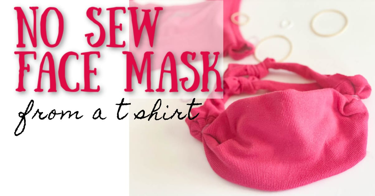 finished pink, no sew face mask with rubber bands and fabric in the background and text overlay