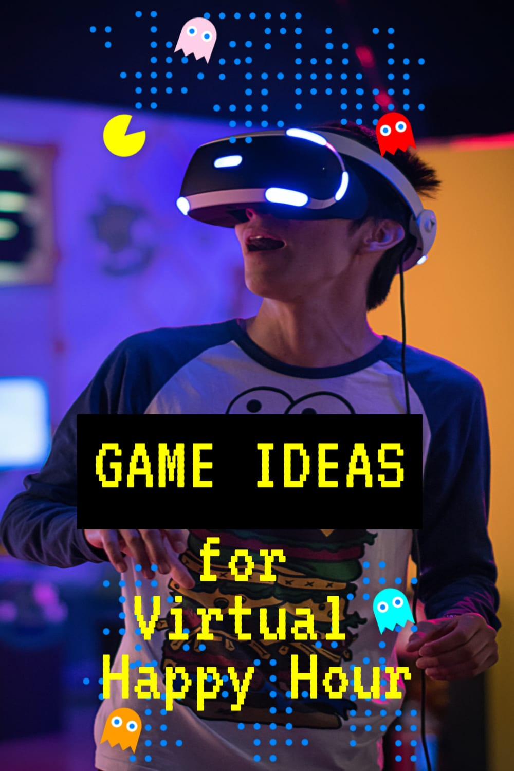 boy with virtual game goggles in dark room with text overlay