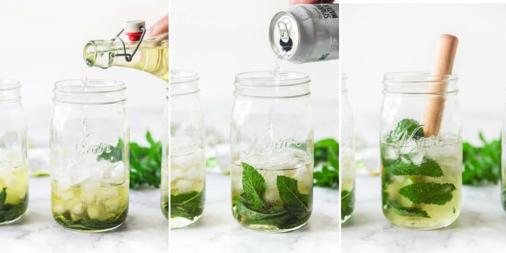 mint, lime, mason jars, and kitchen linens in collage showing step by step making of classic rum mojito