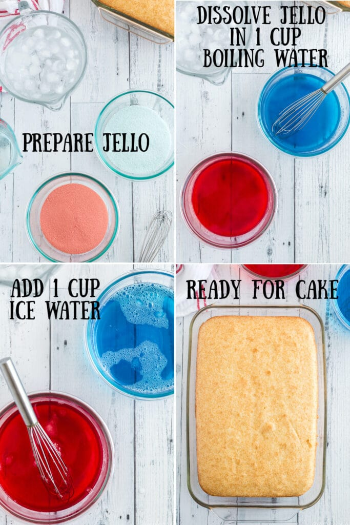 photo collage of red and blue jello mix in clear bowls, with hot water and a whisk mixed in, with cold water added, and the prepared cake with text overlay