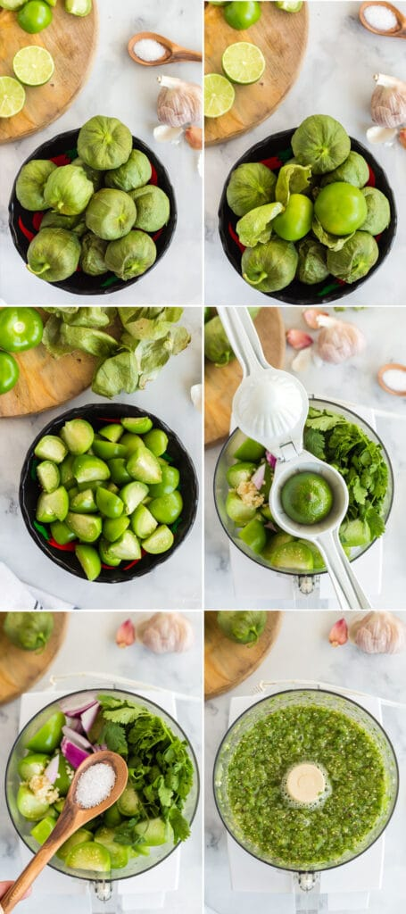 photo collage of steps to make recipe: tomatillos in a bowl, tomatillos with husks peeled back, cut tomatillos, adding lime to food processor with ingredients, salt on a spoon being added to food processor, and blended salsa