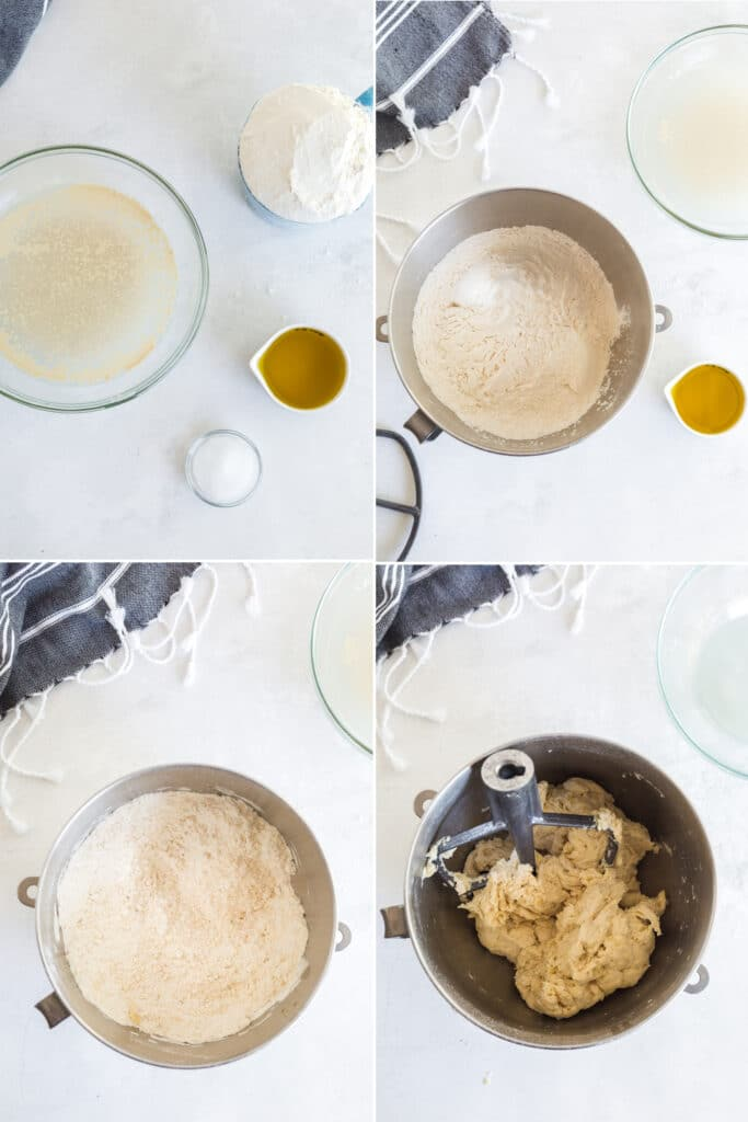 photo collage of glass bowls with water and yeast, flour, olive oil, and salt, flour in metal bowl before and after oil is mixed in, wet pizza dough in mixing bowl