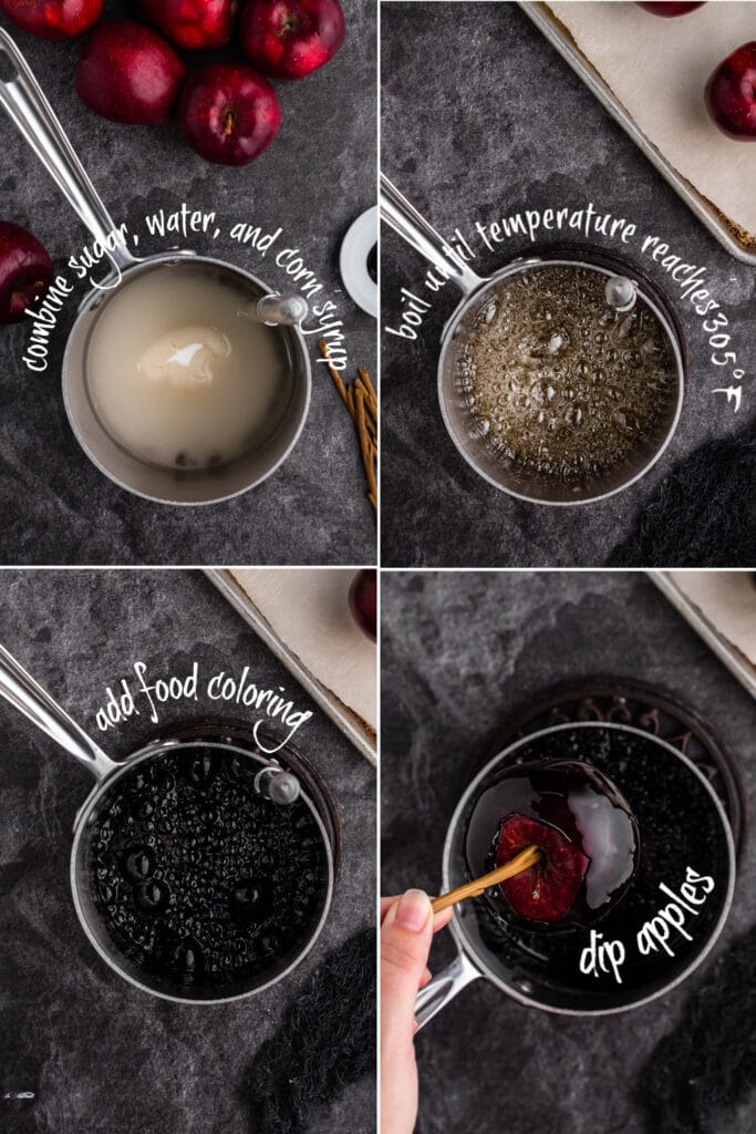 four photo collage showing the steps of candy apple recipe - ingredients in baking pan, bubbling sugar syrup, black bubbling syrup, and apple being dipped into candy coating