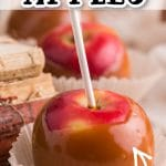 red apples coated in caramel in cupcake wrapper, book stack in background with text overlay