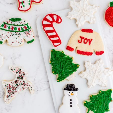 decorated Christmas sugar cookies with sprinkles and colored frosting