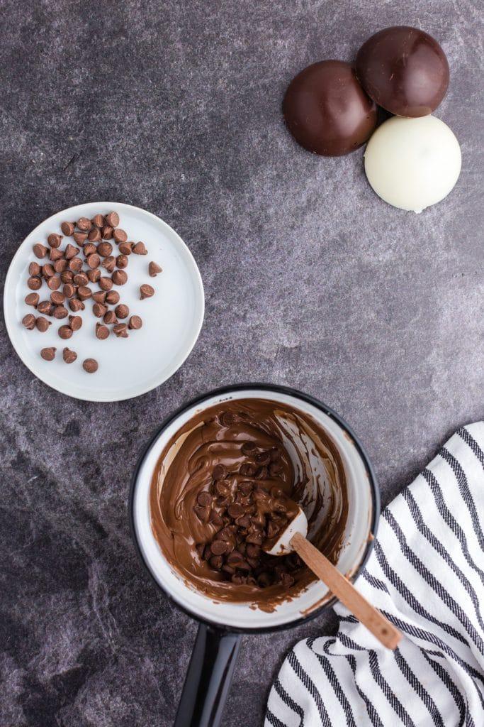 melting chocolate in pan