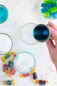 Jolly Rancher Vodka mixed filled in drinking glass with ice