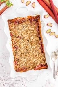 baked Rhubarb Crisp in white pie dish
