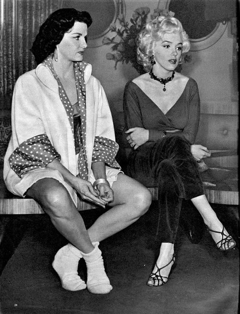 Black strappy sandals - Marilyn Monroe & Jane Russell on the set of Gentlemen Prefer Blondes
