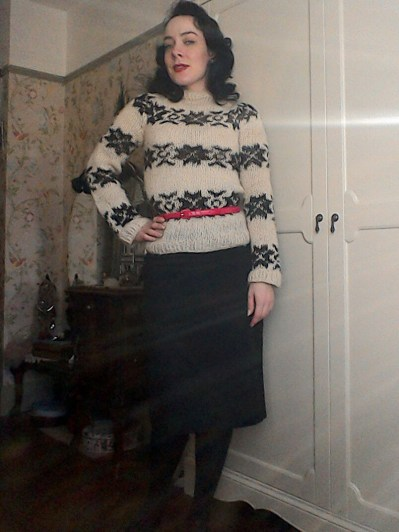 Jumper with pencil skirt