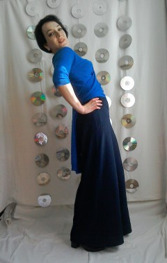 Blue and navy wrapover top and Palazzo pants