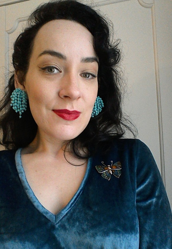 Vintage earrings and butterfly brooch