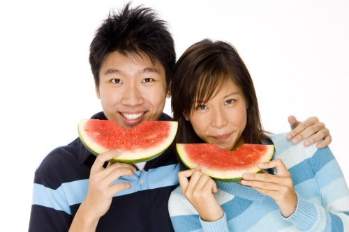 Asian Male Female Eating Watermelon | The Girl Next Door is Black