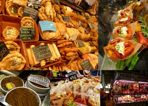 Food stalls inside La-Boqueria market in Barcelona