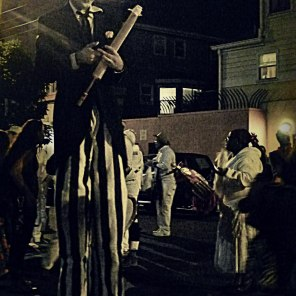 Man on Stilts Dia de los Muertos | The Girl Next Door is Black