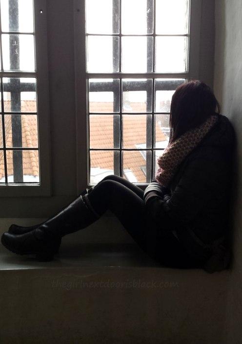 Girl in Window Rundetårn Copenhagen | The Girl Next Door is Black