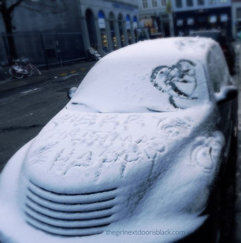 Car snow message Merry Christmas Copenhagen