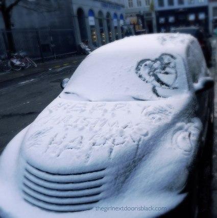 Car snow message Merry Christmas Copenhagen