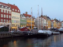Nyhavn in snow Copenhagen