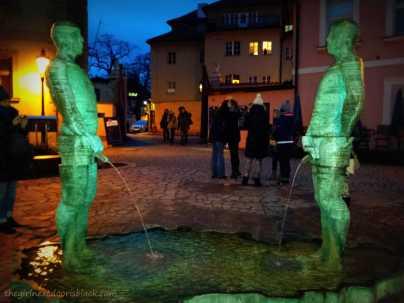 Two Peeing Guys by Artist David Černý Prague | The Girl Next Door is Black