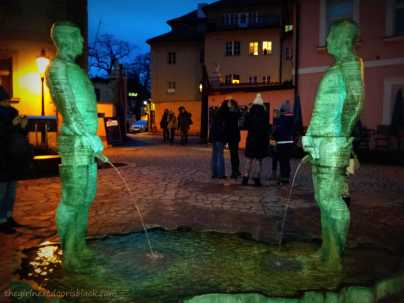 Two Peeing Guys by Artist David Černý Prague | The Girl Next Door is Black