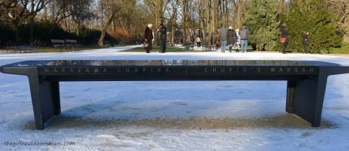 Chopin's Warsaw Bench Łazienski Park Warsaw | The Girl Next Door is Black