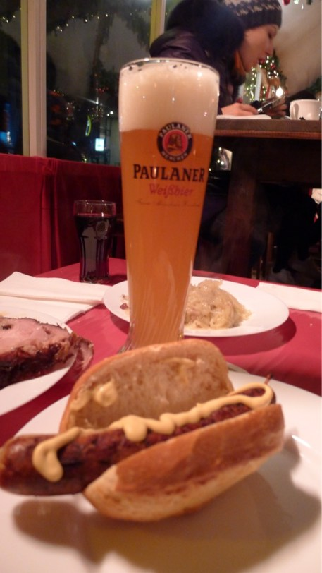 Hefeweizen and bratwurst Christmas market Berlin