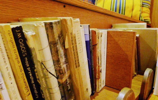 Library books in Zapiecek Restaurant Interior | The Girl Next Door is Black