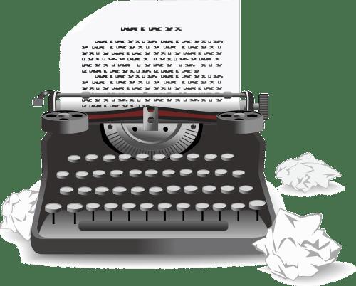 Typewriter w/Crumpled Paper - Writer's Block  from The Girl Next Door is Black