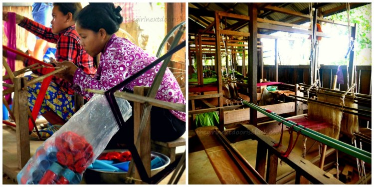 Dried cocoons are boiled to loosen the silk, which is then spooled onto the wooden reel.