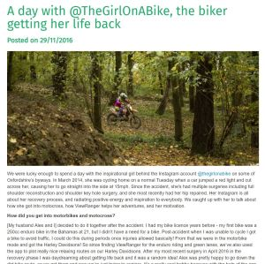The Girl On A Bike View Ranger A day with @TheGirlOnABike the biker getting her life back
