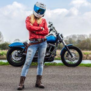 The Girl On A Bike in an HJC RPHA 70 full face motorbike helmet