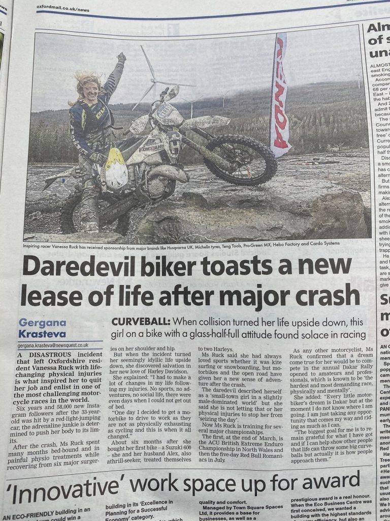 Vanessa Ruck in the Oxford Mail