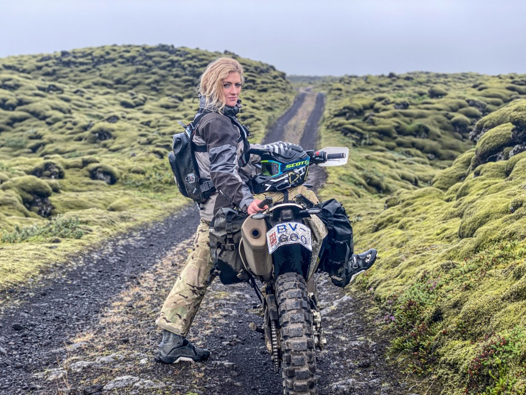 Lava field riding adv motorcycle Iceland