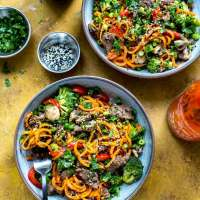 30-Minute Ginger Beef Sweet Potato Noodles