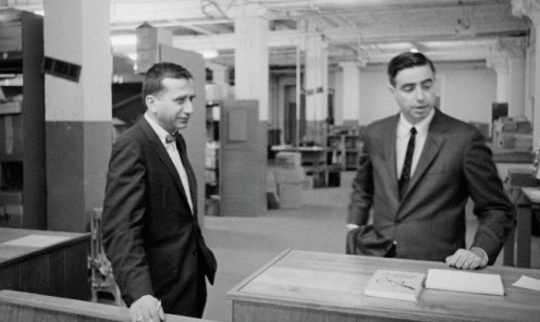 """At the Depository in March 1964, David Belin (left) with Howard Willens: """"We should pin down this time sequence of her running down the stairs."""""""
